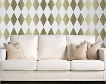 Diamond Pattern STENCIL for Walls - HARLEQUIN  - Wall Stencil - Reusable, DIY Wall Decor - Easier than Wallpaper