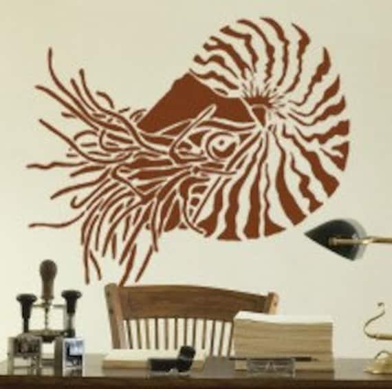 Stencil for Walls - NAUTILUS - Large STENCIL, Reusable - DIY Home Decor/Wall Art