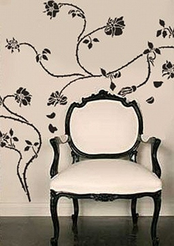 Stencil for Walls - Wild ROSE Vine - Large Wall STENCIL, Reusable - Home Decor/Wall Decor