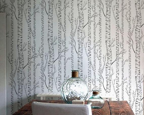 Albero stencil betulle foresta allover di oliveleafstencils