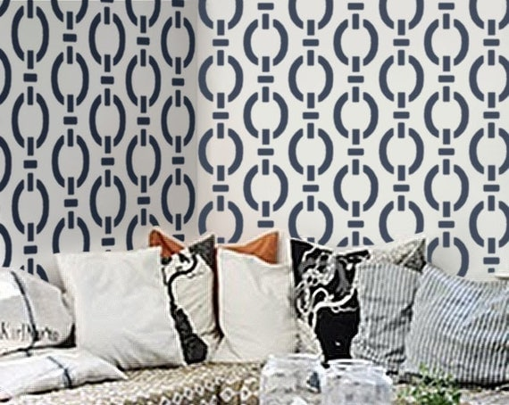 stencil for walls modern allover wall stencil nautical chain pattern diy - Design Stencils For Walls