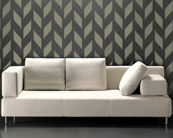STENCIL for walls - Modern Chevron allover wall stencil - Woven Pattern - Reusable DIY Home Decor - chevron