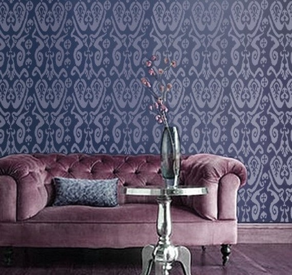 Ikat Wall Stencil - IKAT Pattern no. 1 - Wall STENCIL - Reusable, Durable DIY Wall Decor/Home Decor