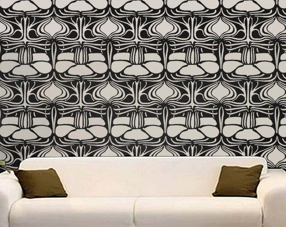 STENCIL for Walls - Lily Pad Pattern - Reusable Art Deco Allover Wall Stencil