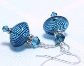 Teal Blue Blown Glass and Swarovski Crystal Earrings
