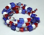 Fourth of July Bracelet, Red White and Blue Stack Bracelet, Patriotic Bracelet, Memory Wire Bracelet