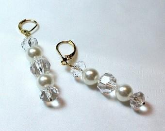 Crystal and Pearl Bridal Earrings - Long Earrings