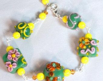 Floral Lampwork Bracelet, Wire Wrapped, Green Lampwork