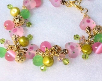 Pink Lampwork Hearts Bracelet, Pink and Green Hearts and Flowers