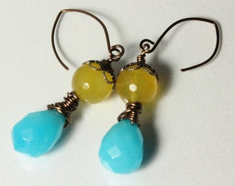 Aqua Chalcedony and Sunshine Yellow Agate Earrings