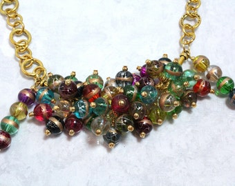 Multicolor Beaded Necklace, Fiesta Colors, Glass Beads, New Years Eve