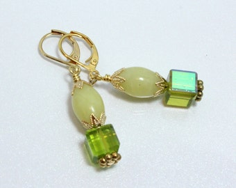 Peridot Jade Earrings With Crystal Cubes, August Birthday