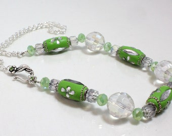Lime Green Kashmiri Bead Necklace, With Chain N1286