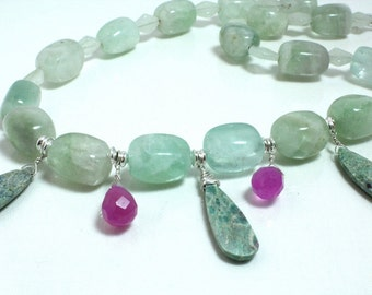Green Fluorite Necklace with Ruby in Fuchsite and Pink Jade N1288