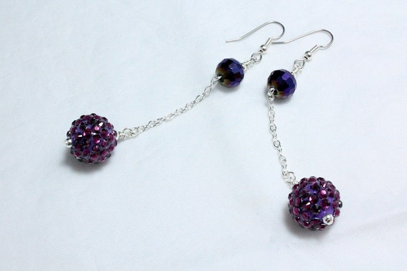Long Purple Disco Ball Earrings