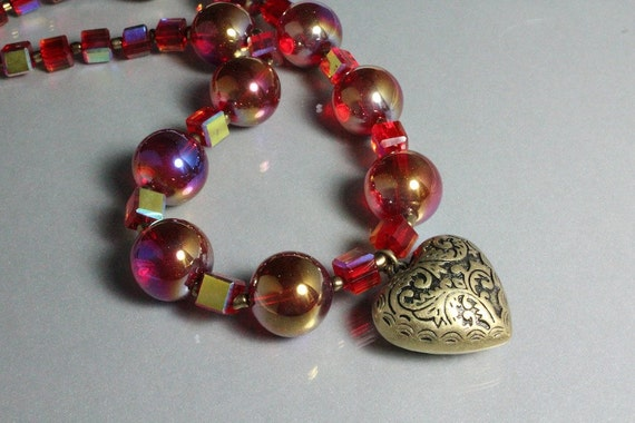 Bronze Heart Necklace with Iridescent Red Round and Cube Beads