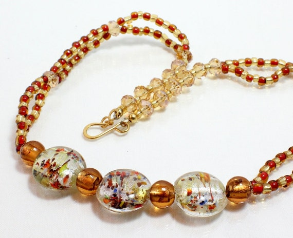Gold Lampwork Necklace, Copper and Gold Confetti Beads