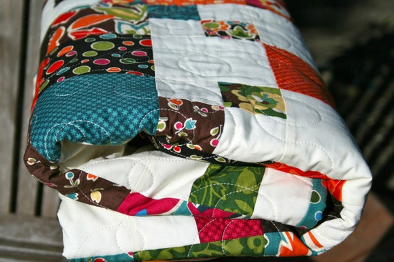 Autumn Quilt - Modern Coverlet/Throw in Moda 'Oh My' Fabric by Sanae