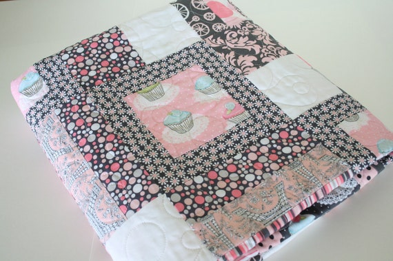 RESERVED for Denise, Childrens Cupcake Print Quilt, Baby Blanket, Pink and Grey, Eiffel Tower, Damask and Floral Prints, Toddler Girl