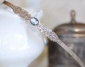 Filigree Petite Cameo Hairband  SIlver crystal vintage bridal bridesmaids long estate old Hollywood