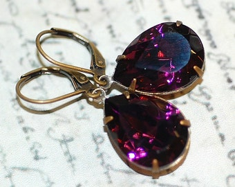 Amethyst Purple Pear Estate Vintage Crystal Earrings Classic Wedding Bridesmaids  Brides Evening special occassions