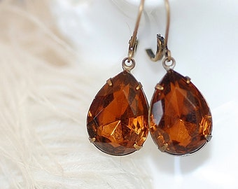 Vintage Pear Smoked Topaz Crystal Earrings Old Hollywood Bridal Weddings settings