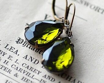 Olive Green Pear crystal vintage Estate Earrings  bridal bridesmaids long estate old hollywood Weddings