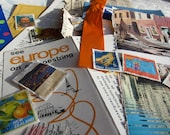 Ephemera Collage Creative Spark Vintage Paper Pack - orange, blue, stamps, collage art materials