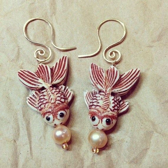 Hand carved Coi drop earrings with a freshwater pearl 14Kt gold filled swirl earwires - swimming koi fish