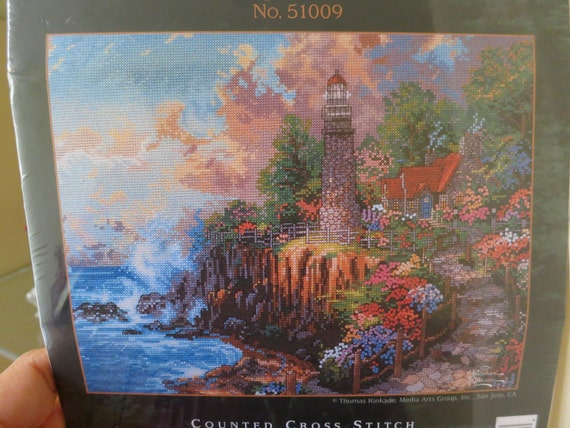 Thomas Kinkade Painter of Light - 51009 The Light of Peace counted cross stitch kit - new in package - lighthouse, seascape, country garden