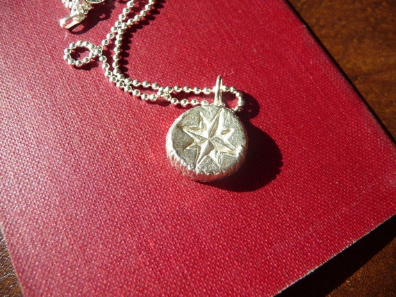 """Fine Silver Mercator Compass Rose Pendant with 18"""" Sterling Silver Ball Chain - recycled silver"""