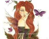 """ORIGINAL Watercolor Painting Faeries Fantasy """"Bashful"""""""