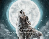 "Original Acrylic Painting Wildlife Wolves ""Moon Song"""