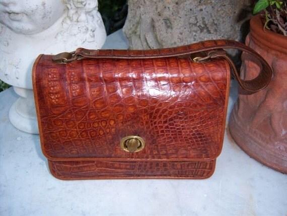 Vintage-Petite Brown Crocodile/Alligator Handbag