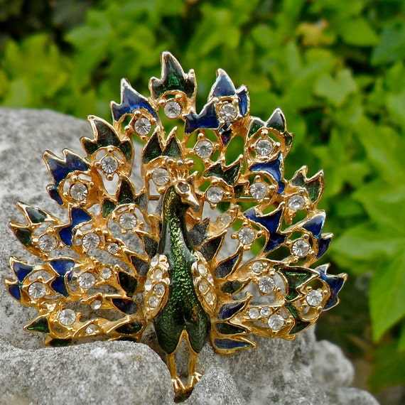 Lovely Gold,Blue,Green Enamel Peacock Pin with Rhinestones