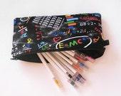 """Retro Colorful Blackboard Pencil Case - """"Too Cool for School"""""""