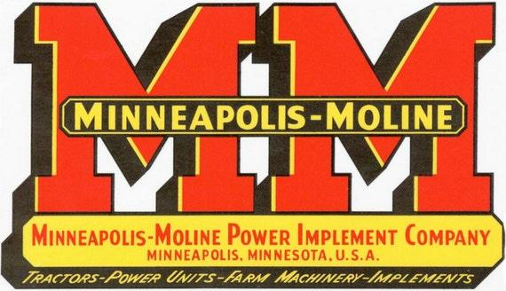 Minneapolis Moline Decals : Reproduction vintage minneapolis moline machine decal