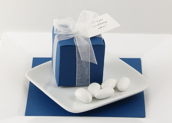 Bay Wedding Favor Boxes - Dark Blue Favor Containers - Nautical Wedding Favors
