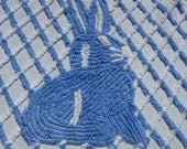 Blue Chenille Bunny Baby Crib Blanket or Toddler Bedspread Vintage