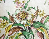 Vintage BarkCloth Fabric Yardage - Tan with Flowers and Leaves - 4 x 1.5 yard pieces - Drapery or Upholstery - Day Lily Bark Cloth