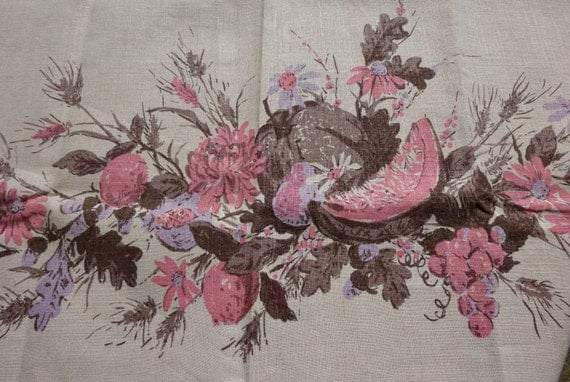 Autumn Harvest Printed Tablecloth in Pink, Lavender and Brown - Mid Century Modern Thanksgiving by Luther Travis