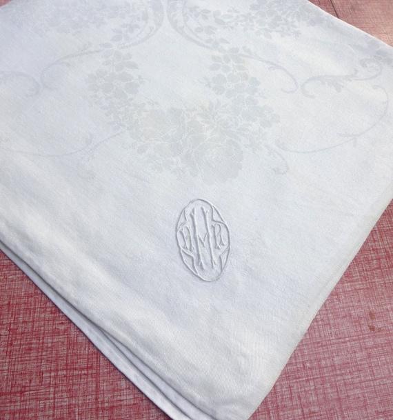 Monogram Vintage Damask Linen Napkin - White Rose Garlands Floral Pattern and H Initial