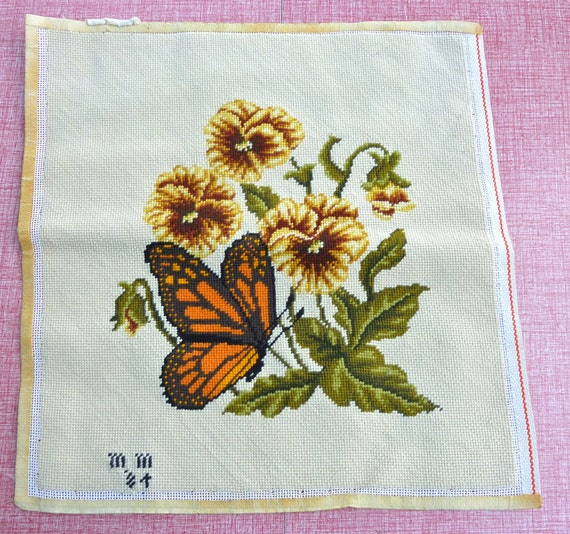 Pansy Needlepoint Pillow Top with Orange Butterfly - Wool and Cotton Canvas