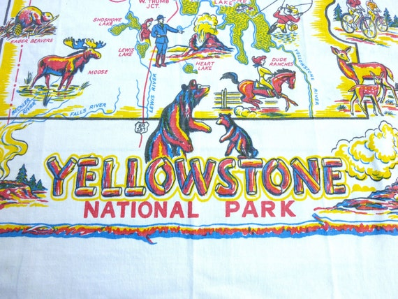 Yellowstone Vintage Souvenir Printed Tablecloth - Novelty Map with Old Faithful, Bears, and Wildlife