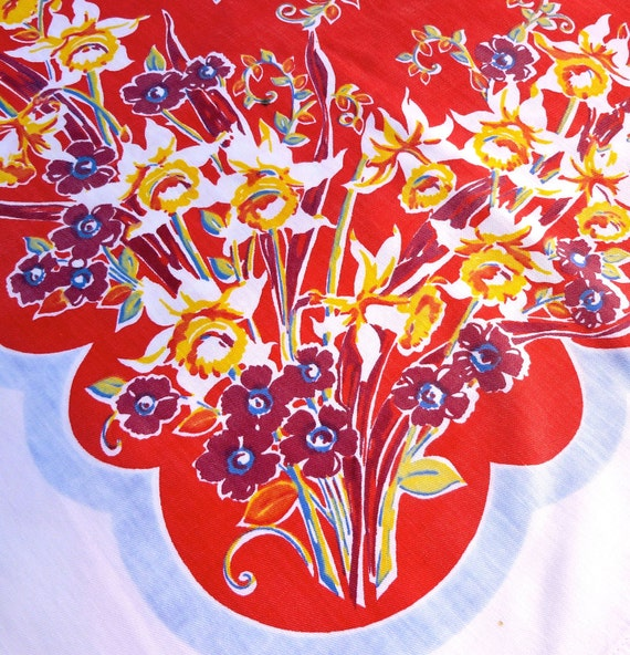 Cutter Floral Vintage Printed Tablecloth- Red Yellow Blue with Daffodils,Daisies, Leaves, Vines