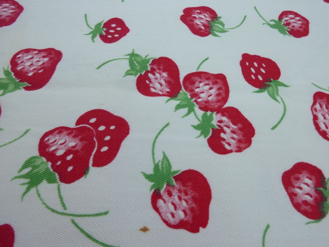 Vintage Strawberry Print Fabric for Kitchen Towels by ...