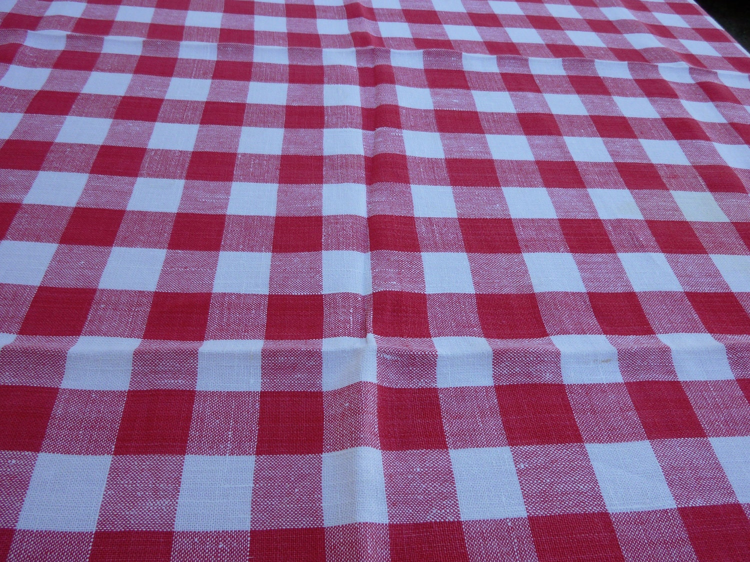 Exceptional Red Checkered Vintage Picnic Tablecloth Classic Italian