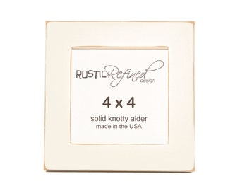 "4x4 1"" Gallery Picture Frame - Off White- Free Shipping - Solid Wood - Hand Made in USA"