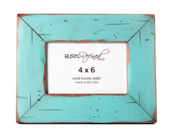 4x6 Cabin picture frame - Turquoise