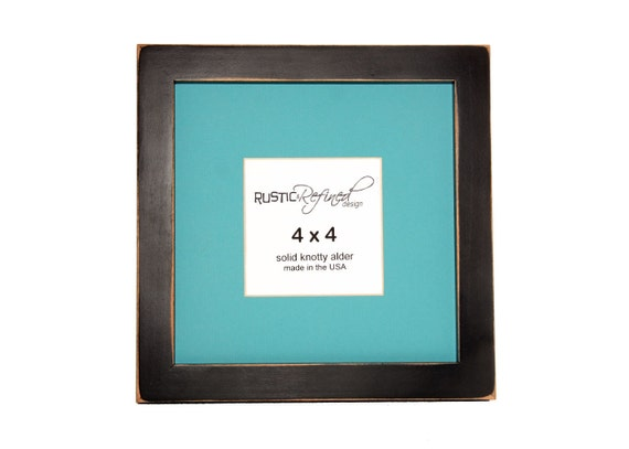"8x8 Gallery 1"" picture frame with ""light teal"" mat - Black"
